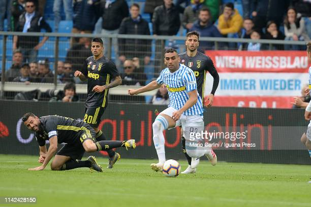 Mohamed Fares of SPAL in action during the Serie A match between SPAL and Juventus at Stadio Paolo Mazza on April 13 2019 in Ferrara Italy