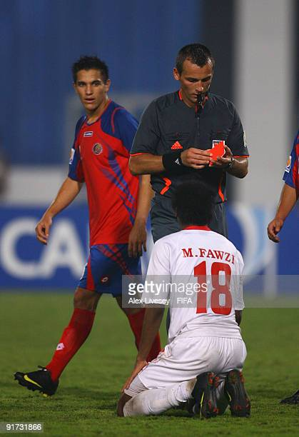 Mohamed Fawzi of United Arab Emirates is sent off by referee Ivan Bebek during the FIFA U20 World Cup Quarter Final match between United Arab...