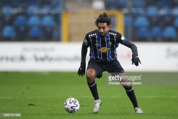 Mohamed Gouaida of SV Waldhof Mannheim in action during the 3. Liga match between Waldhof Mannheim and 1. FC Kaiserslautern at Carl-Benz-Stadium on...