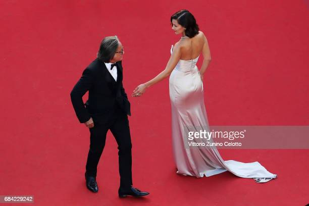 Mohamed Hadid and Bella Hadid attend the 'Ismael's Ghosts ' screening and Opening Gala during the Opening Ceremony of the 70th annual Cannes Film...