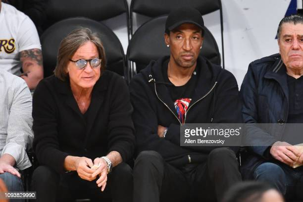 Mohamed Hadid and Scottie Pippen attend a basketball game between the Los Angeles Lakers and the Cleveland Cavaliers at Staples Center on January 13...