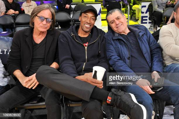 Mohamed Hadid Scottie Pippen and Haim Saban attend a basketball game between the Los Angeles Lakers and the Cleveland Cavaliers at Staples Center on...