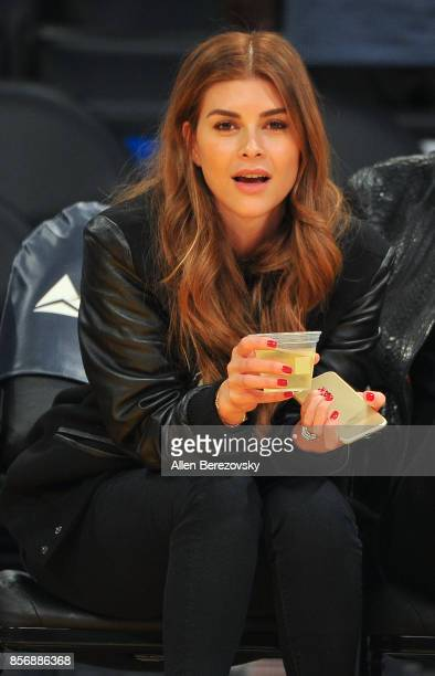 Mohamed Hadid's fiance Shiva Safai enjoys the Los Angeles Lakers game against the Denver Nuggets at Staples Center on October 2 2017 in Los Angeles...