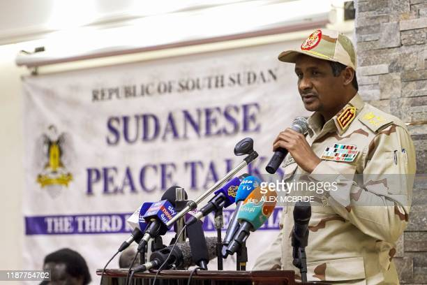 Mohamed Hamdan Daglo Hemeti Sudan's deputy head of the Transitional Military Council speaks during the opening ceremony of the third round of...