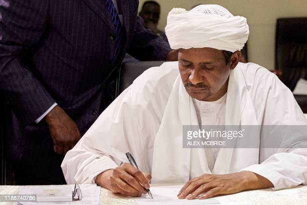 Mohamed Hamdan Daglo Hemeti Sudan's deputy head of the Transitional Military Council signs a two month renewal of the Sudanese ceasefire agreement...