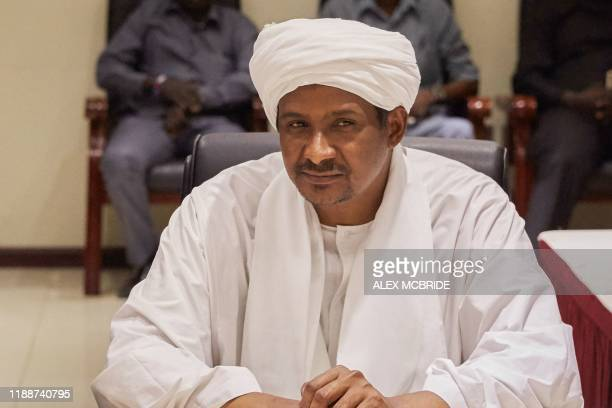 Mohamed Hamdan Daglo Hemeti Sudan's deputy head of the Transitional Military Council looks on before signing a two month renewal of the Sudanese...