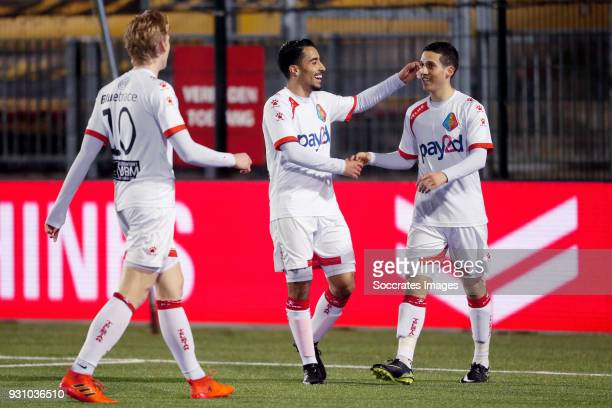 Mohamed Hamdaoui of Telstar celebrates 01 with Anass Najah of Telstar during the Dutch Jupiler League match between Almere City v Telstar at the...
