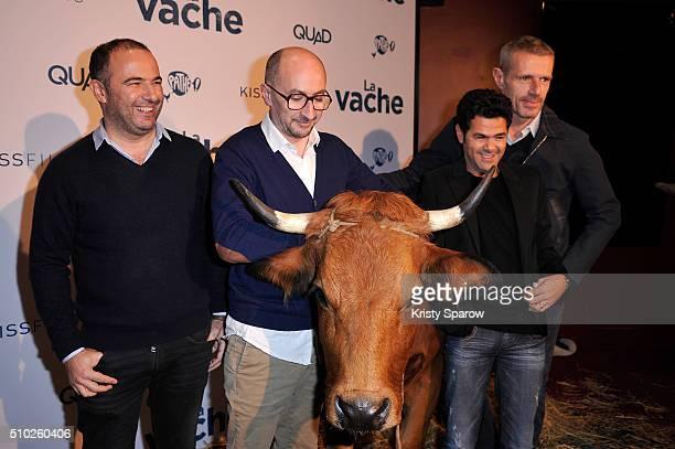 Mohamed Hamidi Fatsah Bouyahmed Jamel Debbouze and Lambert Wilson attend the La Vache Paris Premiere at Pathe Wepler on February 14 2016 in Paris...