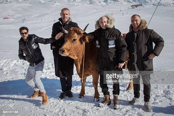 Mohamed Hamidi Jamel Debbouze Lambert Wilson and Fatsah Bouyahmed pose at the photocall for 'La Vache' during the 18th L'Alpe D'Huez International...