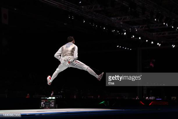 Mohamed Hamza of Team Egypt celebrates after defeating Andrea Cassara of Team Italy in Men's Foil Individual third round on day three of the Tokyo...