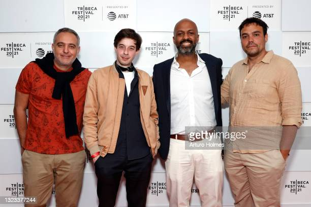 """Mohamed Hefzy, Charles Bin, Sameh Awad and Martin Gondre attend 2021 Tribeca Festival Premiere of """"Souad"""" at Brookfield Place on June 13, 2021 in New..."""