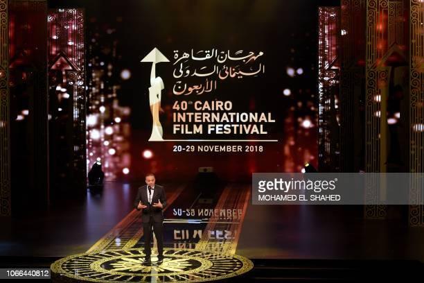 Mohamed Hefzy president of the Cairo Film Festival, speaks during the closing ceremony of the 40th edition of the Cairo International Film Festival...