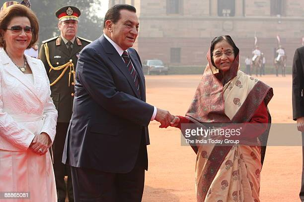 Mohamed Hosni Mubarak, President of Egypt and his wife Suzanne Mubarak along with Pratibha Devisingh Patil, President of India during a ceremonial...