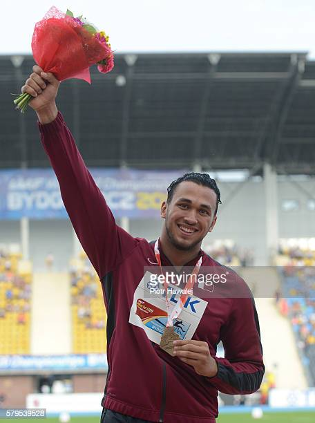 Mohamed Ibrahim Moaaz from Qatar on the podium in men's discus throw during the IAAF World U20 Championships at the Zawisza Stadium on July 24 2016...