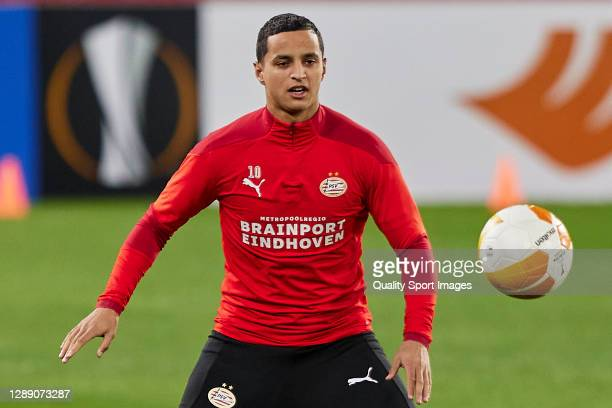 Mohamed Ihattaren of PSV Eindhoven in action during training session ahead of the UEFA Europa League Group E stage match between PSV Eindhoven and...
