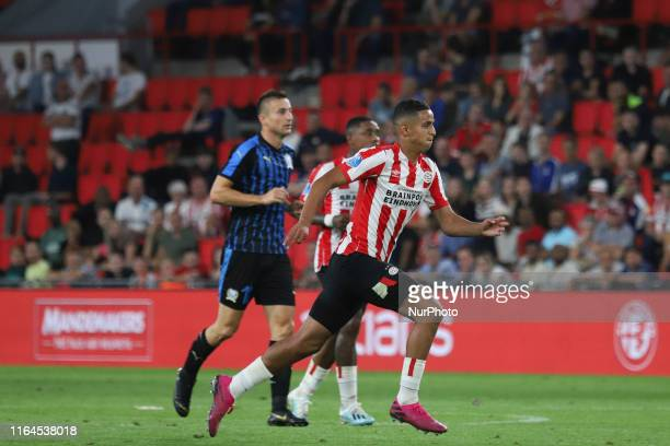 Mohamed Ihattaren scorer of the first goal of PSV as seen in action during the UEFA Europa League play off qualifying first leg match between PSV...