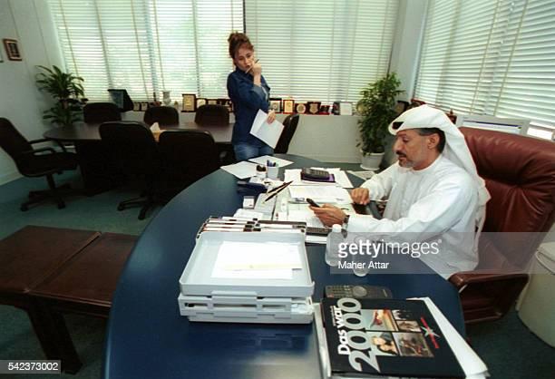 Mohamed Jasem El Ali director of the TV channel with his assistant