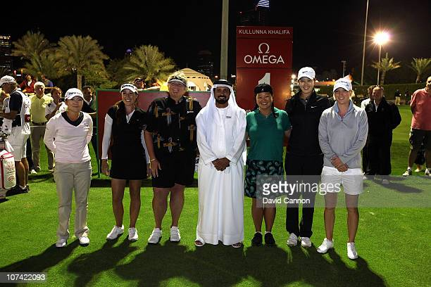 Mohamed Juma Buamaim The Vice Chairman and CEO of 'Golf in Dubai' is joined by players left to right In Kyung Kim of South Korea Carling Coffing of...