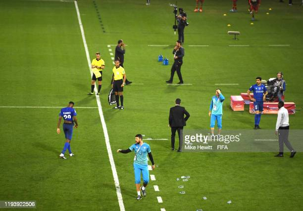 Mohamed Kanno of Al Hilal SFC receives a red card during the FIFA Club World Cup 2nd round match between Al Hilal and Esperance Sportive de Tunis at...
