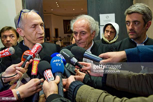 Mohamed Khanifar lawyer of Berkane Makhlouf Renaud Portejoie and Gilles Jean Portejoie lawyers of Cecile Bourgeon speak to journalists at the end of...