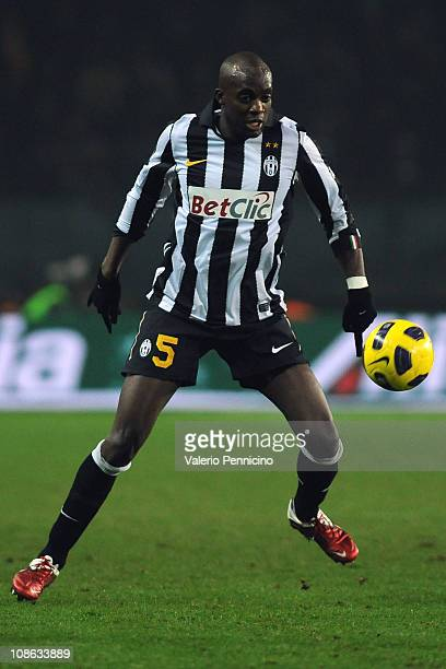 Mohamed Lamine Sissoko of Juventus FC competes during the Tim Cup match between Juventus FC and AS Roma at Olimpico Stadium on January 27 2011 in...