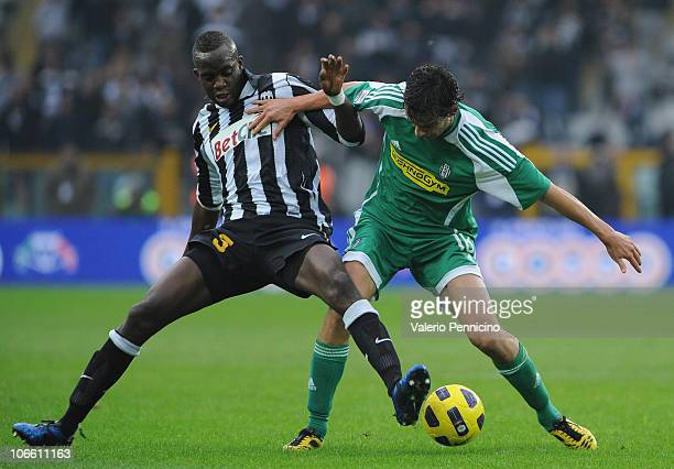 Mohamed Lamine Sissoko of Juventus FC takes on Marco Parolo of AC Cesena during the Serie A match between Juventus FC and AC Cesena at Olimpico...
