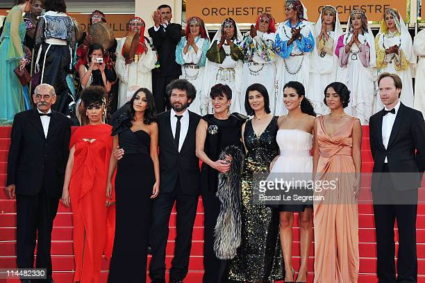 Mohamed Maid guest Leila Bekhti director Radu Mihaileanu Biyouna Hiam Abbas Sabrina Ouazani and guest attends the La Source Des Femmes Premiere at...