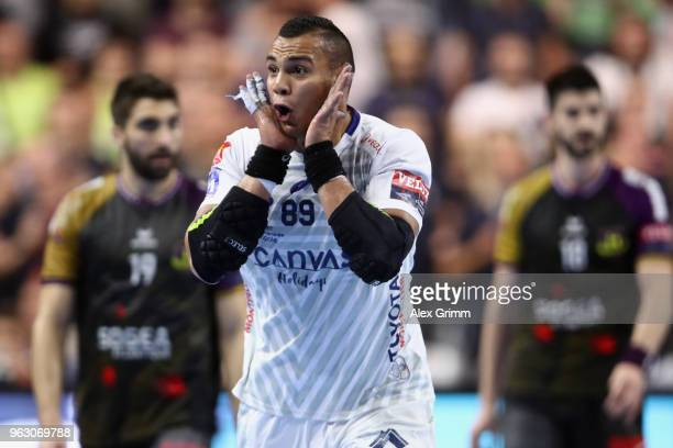 Mohamed Mamdouh of Montpellier celebrates a goal during the EHF Champions League Final 4 Final match between Nantes HBC and Montpellier HB at Lanxess...