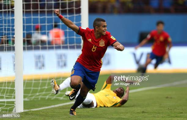 Mohamed Moukhliss of Spain celebrates scoring the opening goal during the FIFA U17 World Cup India 2017 group D match between Brazil and Spain at...