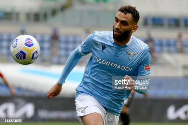 Mohamed Muriqi of SS Lazio in action during the Serie A match between SS Lazio and Benevento Calcio at Stadio Olimpico on April 18, 2021 in Rome,...