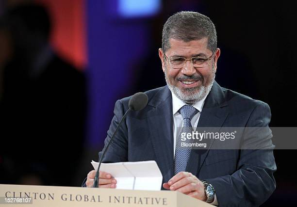 Mohamed Mursi, president of Egypt, speaks during the annual meeting of the Clinton Global Initiative in New York, U.S., on Tuesday, Sept. 25, 2012....