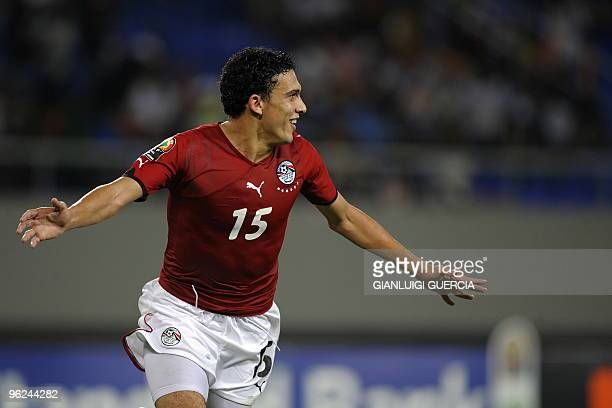 Mohamed Nagy of Egypt celebrates after scoring the fourth goal against Algeria during their semi final match of the African Cup of Nations CAN2010 at...