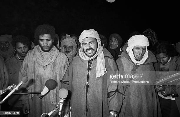 Mohamed Ould Ziou, leader of the Sahrawi national council, holds a press conference in Algiers to announce the formation of the Sahrawi Arab...