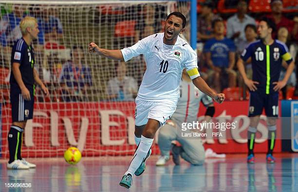 Mohamed Rahoma of Libya celebrates after scoring his teams first goal during the FIFA Futsal World Cup Group C match between Japan and Libya at...