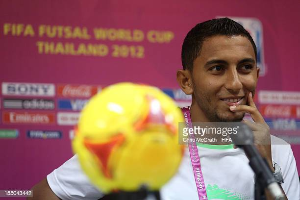 Mohamed Rahoma of Libya speaks to the media during a press conference for the FIFA Futsal World Cup Thailand 2012 at Korat Chatchai Hall on October...