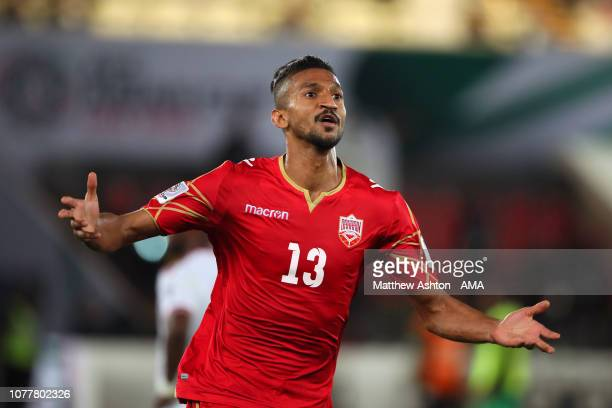 Mohamed Saad Alromaihi of Bahrain celebrates scoring his side's first goal to make the score 01 during the AFC Asian Cup Group A match between United...