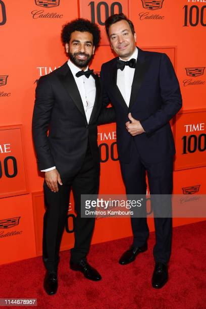 Mohamed Salah and Jimmy Fallon attend the TIME 100 Gala Red Carpet at Jazz at Lincoln Center on April 23 2019 in New York City