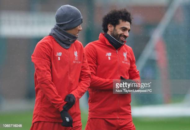 Mohamed Salah and Roberto Firmino of Liverpool at Melwood Training Ground on November 27 2018 in Liverpool England