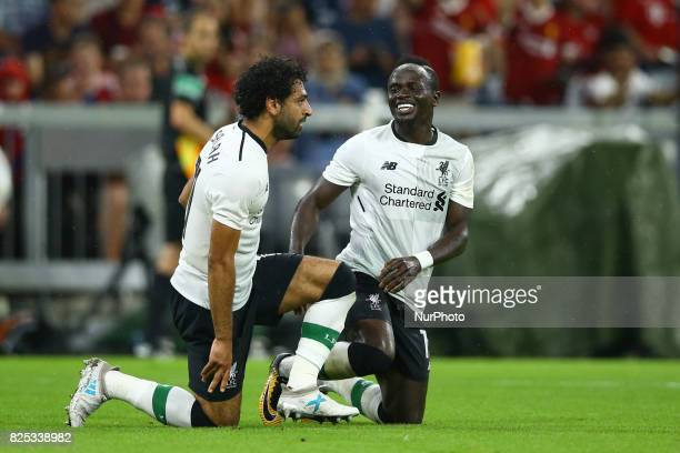 Mohamed Salah and Sadio Mane of Liverpool celebrating during the Audi Cup 2017 match between Bayern Muenchen and Liverpool FC at Allianz Arena on...