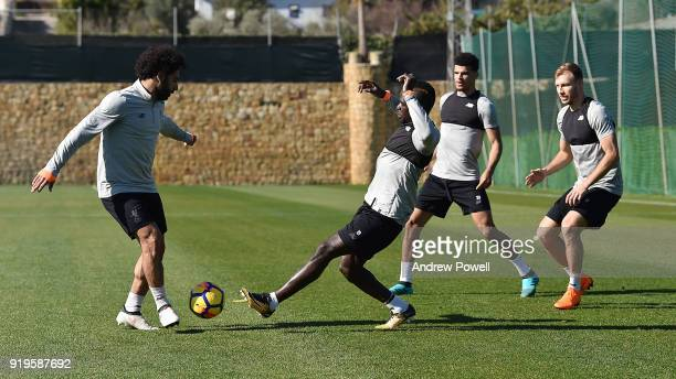 Mohamed Salah and Sadio Mane of Liverpool during a training session at Marbella Football Center on February 17 2018 in Marbella Spain