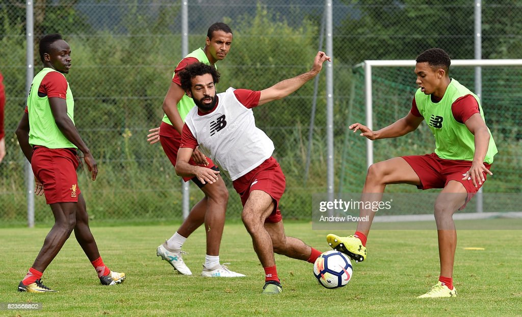 Mohamed Salah and Trent Alexander-Arnold of Liverpool during a training session at Rottach-Egern on July 27, 2017 in Munich, Germany.