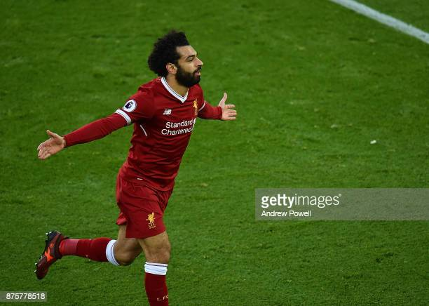 Mohamed Salah celebrates his first goal of Liverpool during the Premier League match between Liverpool and Southampton at Anfield on November 18 2017...