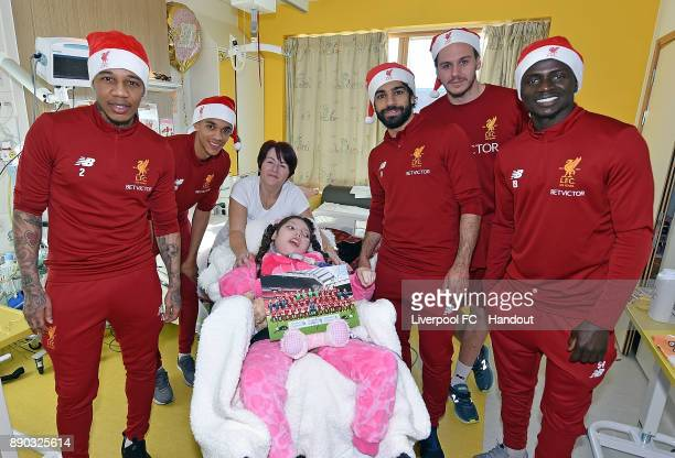 Mohamed Salah Danny Ward Trent AlexanderArdold Sadio Mane and Nathaniel Clyne of Liverpool at their annual visit at Alder Hey Childrens Hospital on...