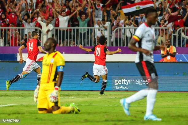 Mohamed Salah Egypt's celebrates his goal against Uganda during the FIFA World Cup 2018 qualification football match between Egypt and Uganda at the...