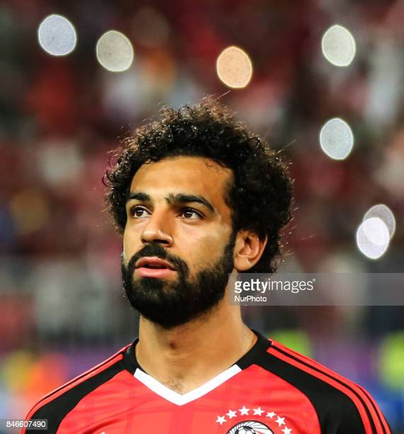 Mohamed Salah Egypt's during the FIFA World Cup 2018 qualification football match between Egypt and Uganda at the Borg alArab Stadium near Alexandria...