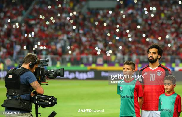 Mohamed Salah Egypt's poses before the FIFA World Cup 2018 qualification football match between Egypt and Uganda at the Borg alArab Stadium near...
