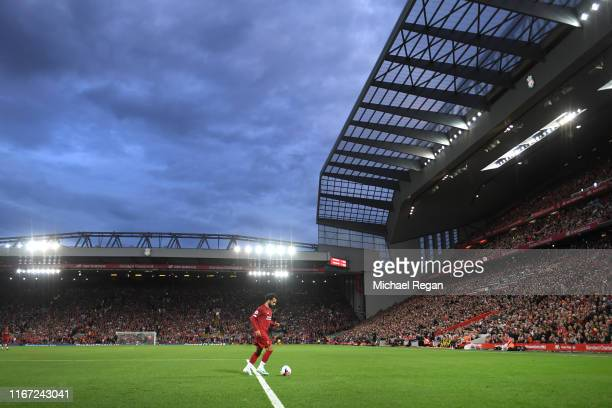 Mohamed Salah goes to take a corner during the Premier League match between Liverpool FC and Norwich City at Anfield on August 09 2019 in Liverpool...