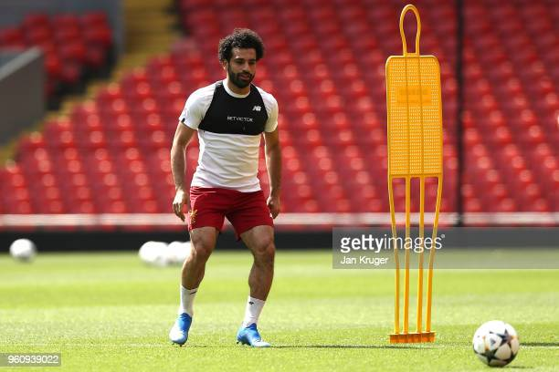 Mohamed Salah in action during a Liverpool training session ahead of the UEFA Champions League final with Real Madrid on May 21 2018 in Liverpool...
