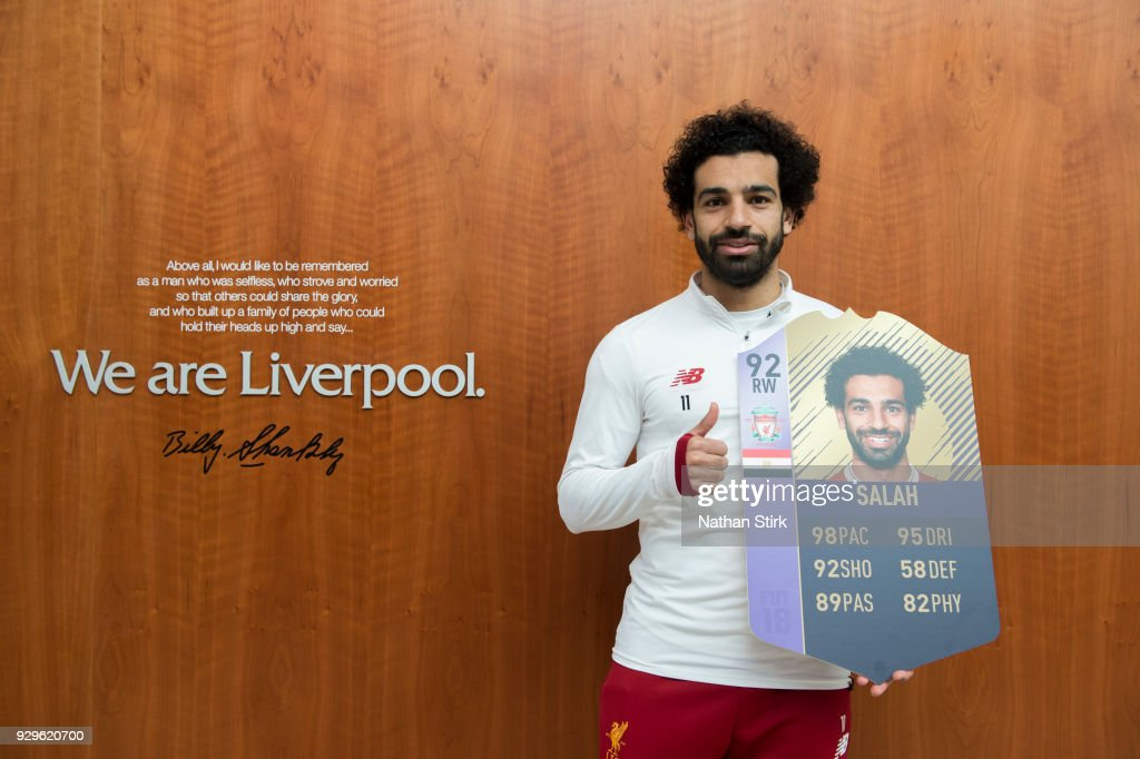 Mohamed Salah is Awarded with the EA SPORTS Player of the Month for February at Melwood Training Ground on March 8, 2018 in Liverpool, England.