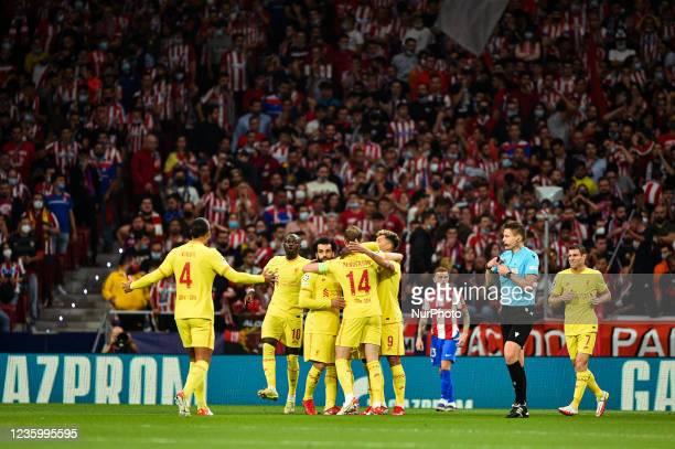 Mohamed Salah, Jordan Henderson, Roberto Firmino, Sadio Mane and Virgil van Dijk celebrates a goal during UEFA Champions League match between...